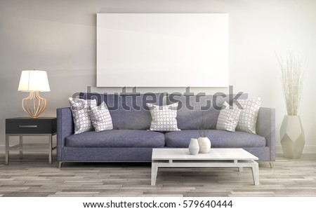 Mock Up Blank Poster On The Wall Of Interior With Sofa. 3D Illustration Part 94