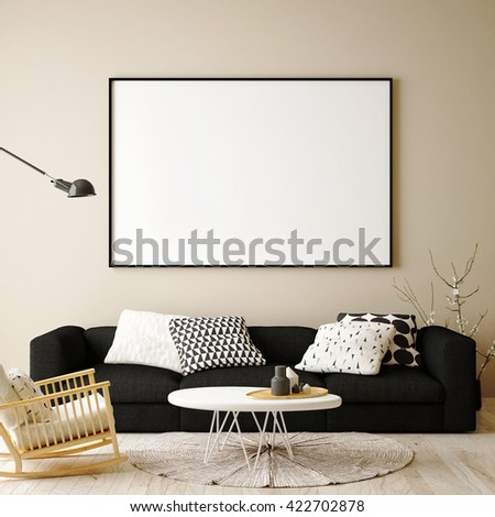 mock up blank poster on the wall of living room, 3D rendering, 3D illustration - stock photo