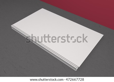 Mock up business card and cover horizontal format. White paper card on table, for your design and template. Three-dimensional rendering.
