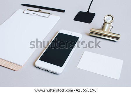 Mock up business of stationery and smartphone, minimal style - stock photo