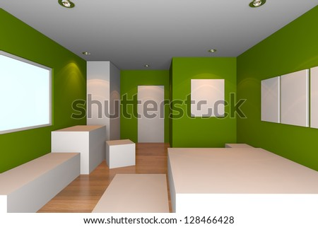 Mock-up for minimalist bedroom with green wall and tile floor. Ideal for ineterior design background.