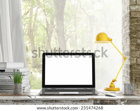 Mock up Laptop, Outdoor view, background, 3d illustratin - stock photo
