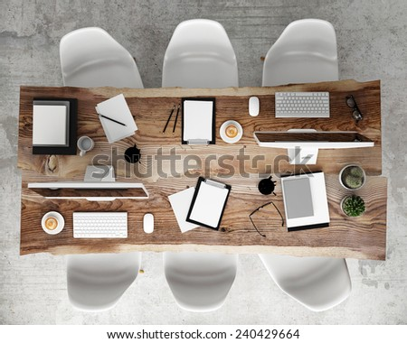 mock up meeting conference table with office accessories and computers, hipster interior background, 3D render - stock photo