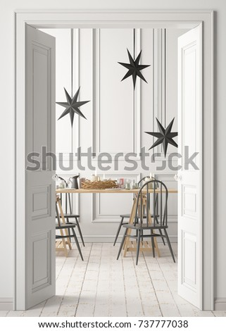 mock up of a Christmas interior behind the door. 3D rendering