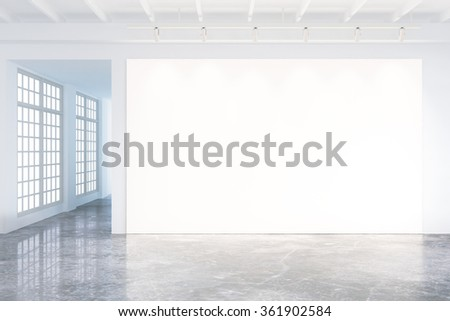 Mock up of blank poster in modern loft interior with big windows and concrete floor 3D Render - stock photo