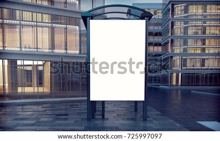 mock up of blank white vertical lightbox on a bus stop 3d rendering : light box window - Aboutintivar.Com