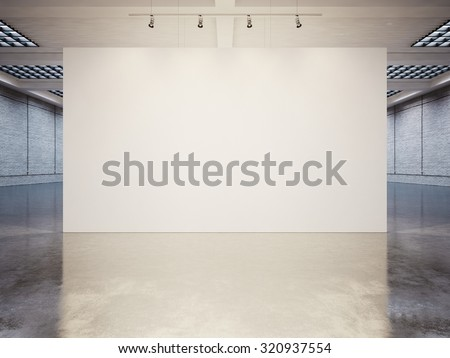 Mock up of empty canvas with white bricks. 3d render - stock photo