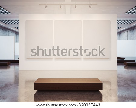 Mock up of empty gallery interior with brown bench. 3d render