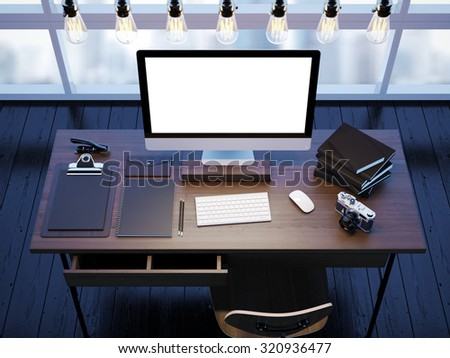 Mock up of modern workspace with window. 3D rendering