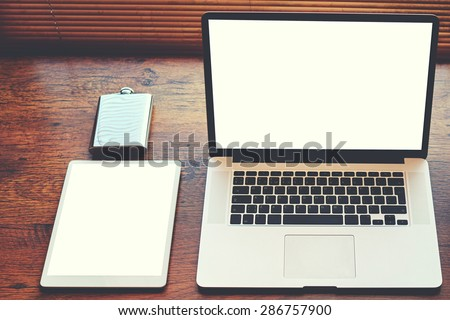 Mock up of technology devices with blank copy space screen for your text message or publicity content, electronic business and distance work concept, workspace with laptop computer and digital tablet - stock photo