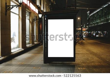 mockup of template bus stop lightbox at night
