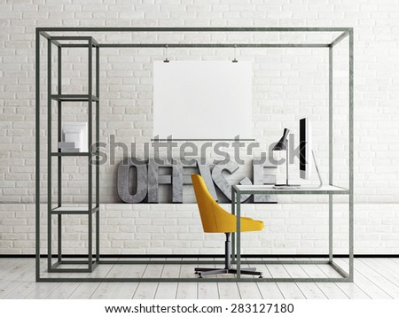 Mock up office space, 3d illustration - stock photo
