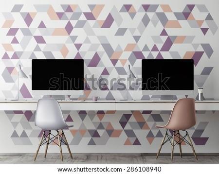 Mock up office, wall geometric decoration, 3d illustration - stock photo