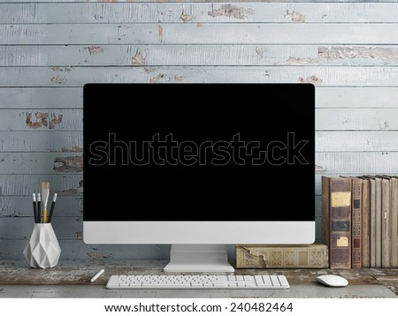 Mock up PC Screen, blue plank background - stock photo