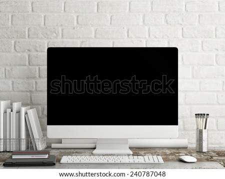 Mock up PC Screen, white brick background - stock photo