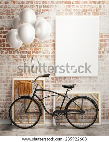 mock up poster and canvas in vintage hipster loft interior background with bicycle and white balloons, 3D render - stock photo