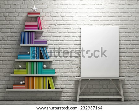 Mock up poster, bookshelf shaped christmas tree - 3D illustration - stock photo