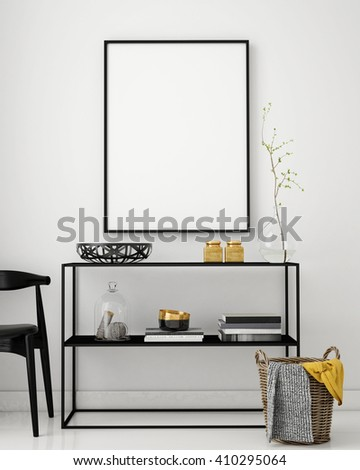 mock up poster frame in hipster interior background, 3D render, 3D illustration - stock photo