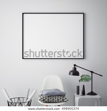 mock up poster frame in hipster interior background, 3D render, 3D illustration