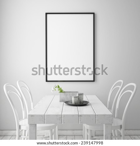 mock up poster frame in white scandinavian dining room, interior background, 3D render - stock photo