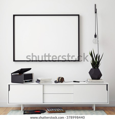 mock up poster frame with on retro chest of drawers, hipster interior background, 3D render - stock photo