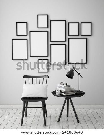 mock up poster frames composition with vintage hipster loft interior background, 3D render - stock photo