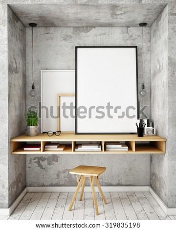 mock up poster frames in hipster interior background, 3D render - stock photo