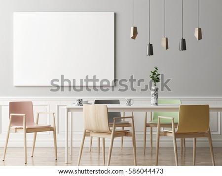 Mock Up Poster In Dining Room Hipster Background 3d Render Illustration
