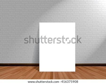 mock up poster in empty room background with wooden floor brick wall.