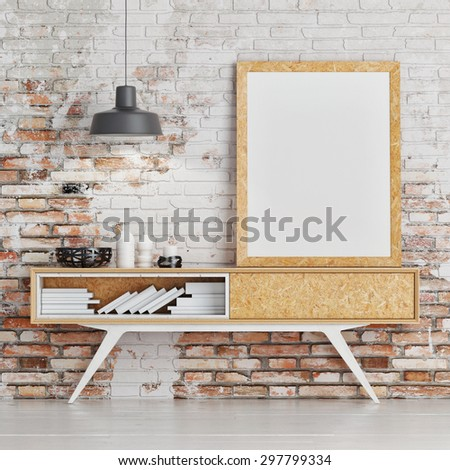 Mock up poster on table in room - 3D render - stock photo