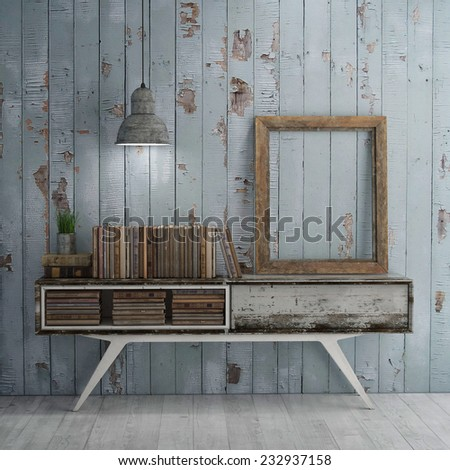 Mock up poster on table in room, old books - 3D illustration - stock photo