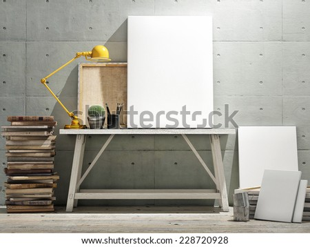Mock up poster on table, wooden floor and concrete wintge background. Vertical concept - stock photo