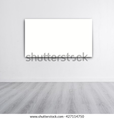 Mock up poster on White wall with wooden gray floor and copyspace for your text, product display - stock photo