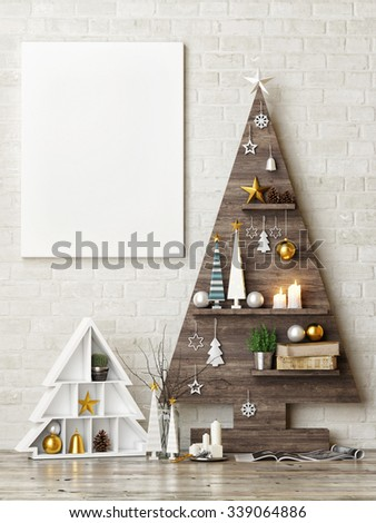 Mock up poster with abstract christmas trees, 3d render
