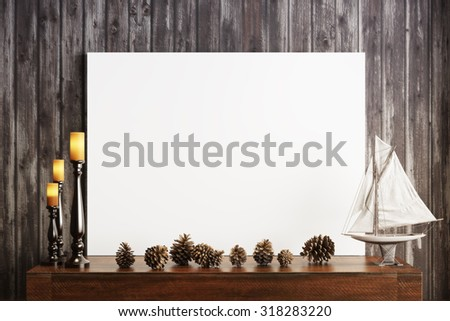 Mock up poster with candles and a rustic wood background, Photo realistic 3d illustration. - stock photo