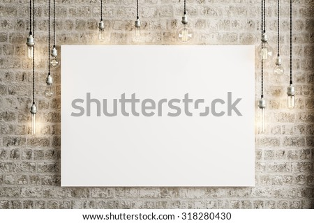 Mock up poster with ceiling lamps and a rustic brick background, Photo realistic 3d illustration. - stock photo