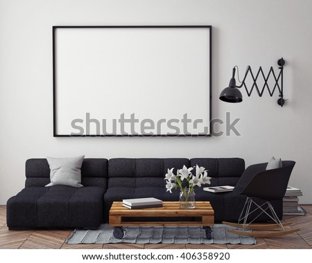 mock up poster with modern loft interior background, 3D render - stock photo