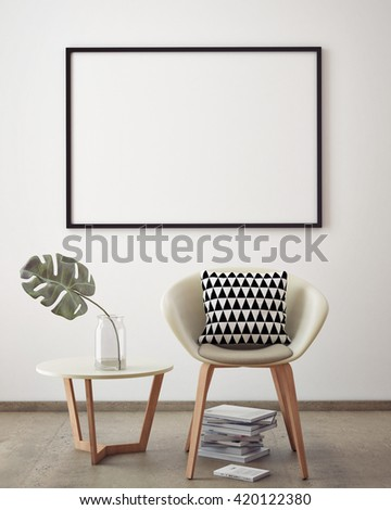 Mock up poster with vintage pastel hipster minimalism loft interior background, 3D rendering, 3D illustration - stock photo