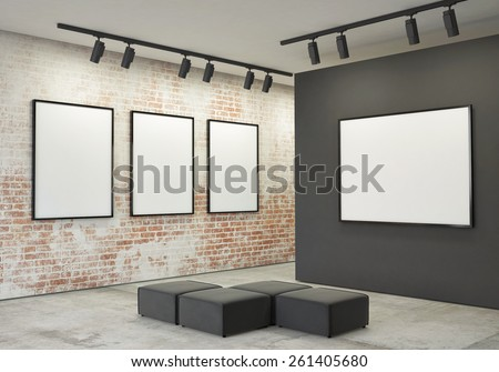 mock up posters frames and canvas in gallery interior background, 3d illustration - stock photo