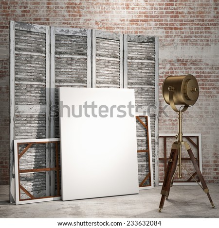 mock up posters on room divider screen in vintage hipster loft interior with industry lamp