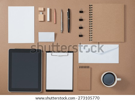 Mock up template of stationary and electronic tools in every day life - stock photo