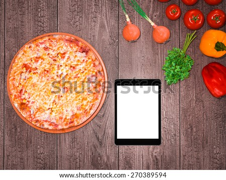 Mock up template pizza on a wooden table.  High resolution. - stock photo