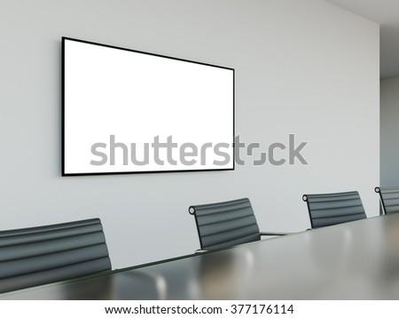 mock up tv screen in meeting room with conference table. 3d rendering - stock photo