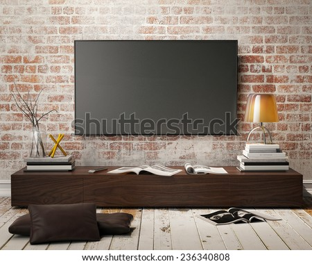 mock up tv screen with vintage hipster loft interior background, 3D render - stock photo