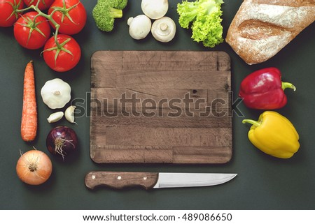 mock up vintage bistro objects kitchen food items on dark background