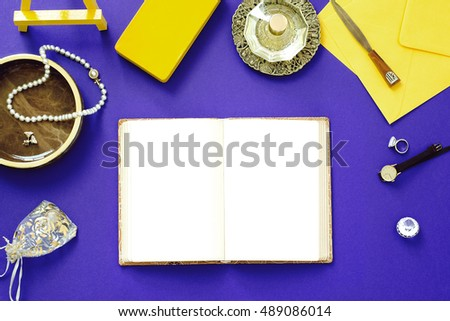 Mock-up, Vintage feminine objects on purple background