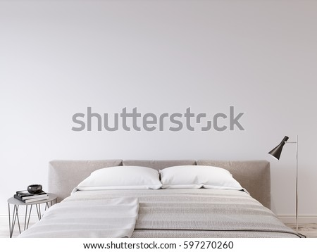 mock up wall bedroom interior scandinavian style interior 3d rendering