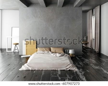 Mock Wall Bedroom Interior Bedroom Hipster Stock Illustration ...