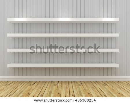 Mock up white shelves design on white background, 3D rendering