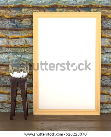 Mock up with an aquarium, rocks, dry branch and a blank canvas in a frame on a background of vintage wooden wall. 3d illustration